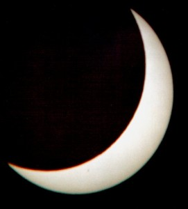 Solar eclipse - August 11th 1999, the maximum from Athens. Projected on a sheet of paper from my TAL-1 reflector.