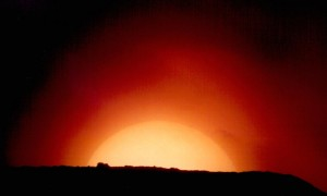 Sun setting. TAL-1 stopped-down to 45mm aperture. 25mm eyepiece projection. 1997