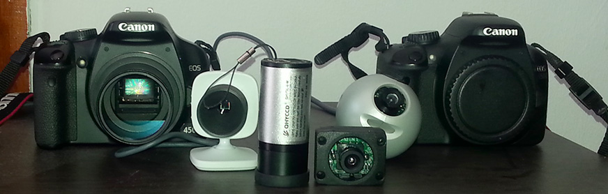 From left to right: Canon 450D, Xbox Vision, QHY5L-IIm, Point Grey Firefly MV, Logitech Quickcam Pro 3000, Canon 550D